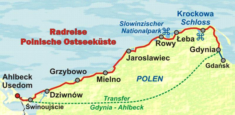 Polnischer Ostseekusten Radweg Von Usedom Entlang Der Polnischen